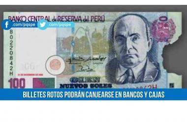 billetes, billetes rotos, canje de billetes rotos, BCR, bancos