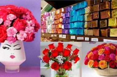 San Valentín, chocolates, flores