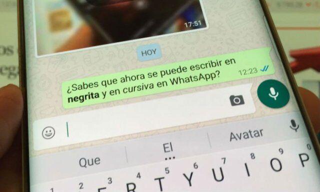 whatsapp, negrita, cursiva, tachado, novedades