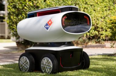 robot, domino's pizza, delivery