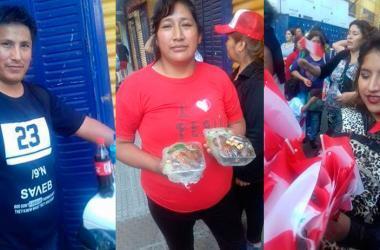 """Tres compatriotas aprovechan para vender sus productos en los alrededores del Estadio """"La Bombonera""""(Foto: Cortesía de Carlos Valverde)"""