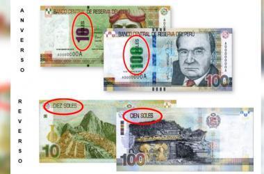 """En el caso de los billetes, el nombre de la unidad monetaria """"Soles"""" se ubica encima del valor en números que cambia de color en el anverso; y en la parte superior izquierda del reverso. (Foto: Andina / Cortesía)"""