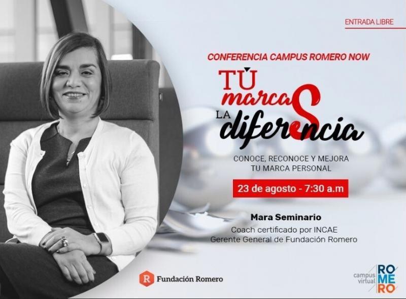 """Mara Seminario, Coach certificada por INCAE y Gerente General de Fundación Romero, dará la charla: """"Tú Marcas la Diferencia"""", en la que aprenderás a forjar una marca personal que asegure tu visibilidad dentro del entorno empresarial."""