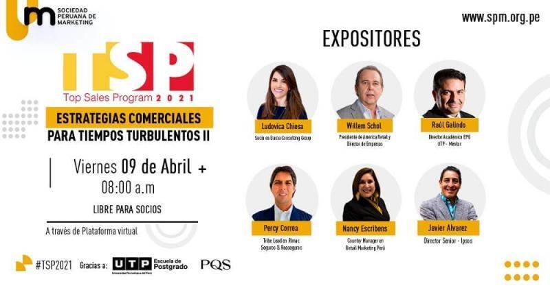 """""""Top Sales Program 2021"""" será este viernes 9: Estos son los ponentes del congreso online top en estrategias comerciales"""