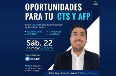 """Charla online gratuita: """"Oportunidades para tu CTS y AFP"""""""