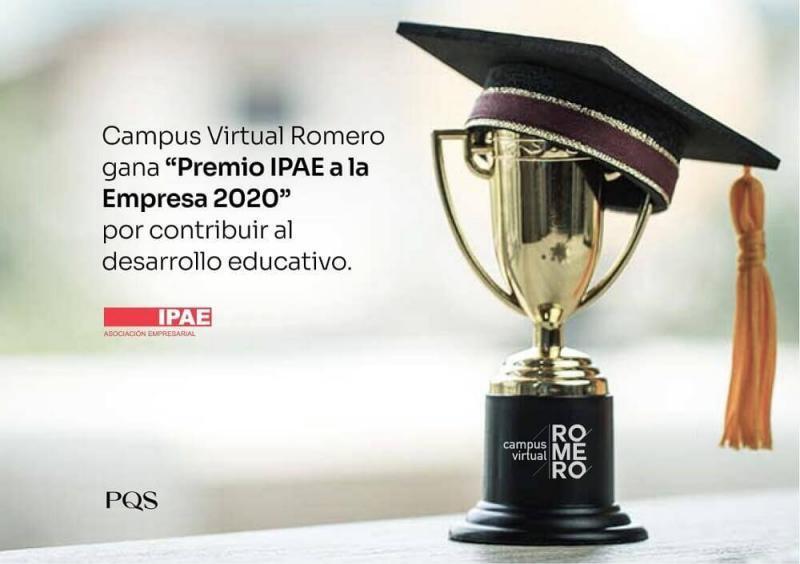 """Campus Virtual Romero gana """"Premio IPAE a la Empresa 2020"""" por contribuir al desarrollo educativo"""